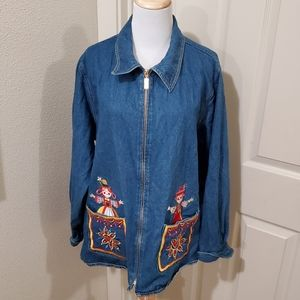 Bob Mackie Christmas jack in the box Jean jacket
